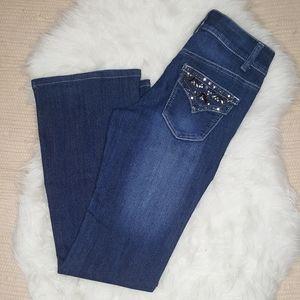 Cache Bejeweled Dark Wash Flared Jeans